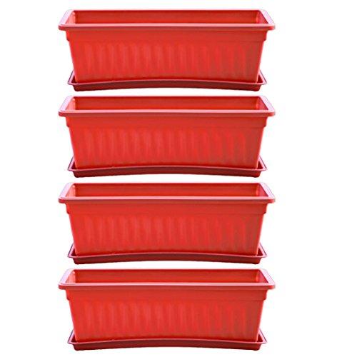 Forweilai Blumentopf, 4 Stück Kunststoff Pflanzkübel Pflanztröge Blumenkasten für Innen und Außenbereiche - (Rot)
