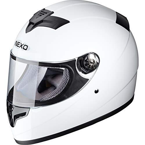 Nexo Integralhelm Motorradhelm Helm Motorrad Mopedhelm City Damen, herausnehmbare Lady Fit Komfortpolster, Belüftungssystem, klares Visier, Ratschenverschluss, Brillenträger-geeignet, Weiß, XS