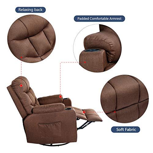 Esright Coffee Fabric Massage Recliner Chair 360 Degrees Swivel Heated Ergonomic...