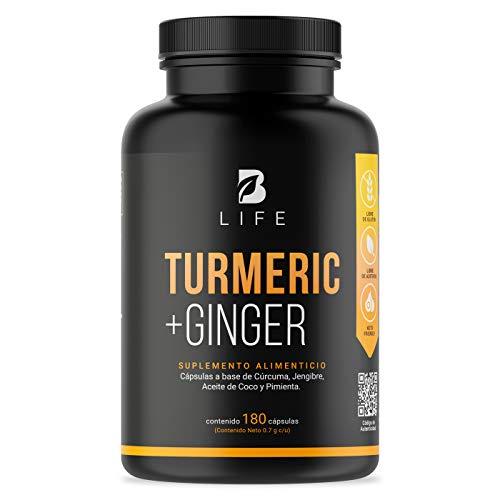 Curcuma + Jengibre con Aceite de Coco 180 cápsulas Turmeric + Ginger Golden Milk Leche Dorada B Life