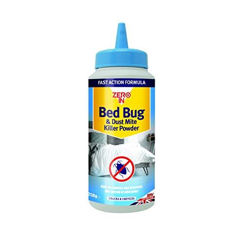 Zero In Bed Bug & Dust Mite Killer Powder Cero en Polvo contra Insectos y ácaros, 250 g