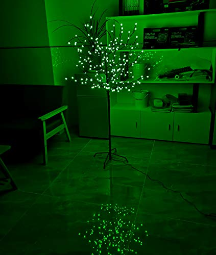 NIGMA Large 5ft Pre-Lit Light up 200 Berry LED Berry Blossom Tree Christmas Xmas 1.5m (Green)