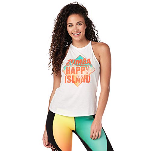 Zumba Activewear Fitness Training High Neck Tank Top Graphic Dance Sportbekleidung Damen, Wear It Out White, M