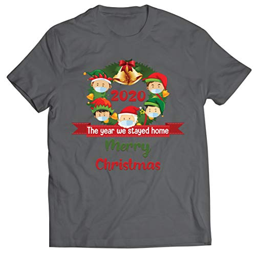 lepni.me Camiseta para hombre con texto en inglés 'Merry Christmas in Quarantine' 2021 Stay at Home Together for Christmas Holidays