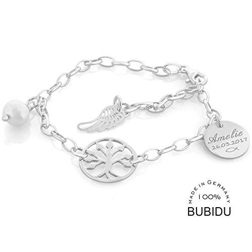Taufgeschenke Für Mädchen Armband Sterling Silber Zur Taufe Mit Gravur Lebensbaum Namensarmband Für Baby Und Kinder Erbskette Armkettchen