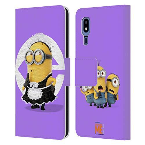 Head Case Designs Oficial Despicable Me Disfraz de mucama de Bob Esbirros Carcasa de Cuero Tipo Libro Compatible con Samsung Galaxy A2 Core (2019)