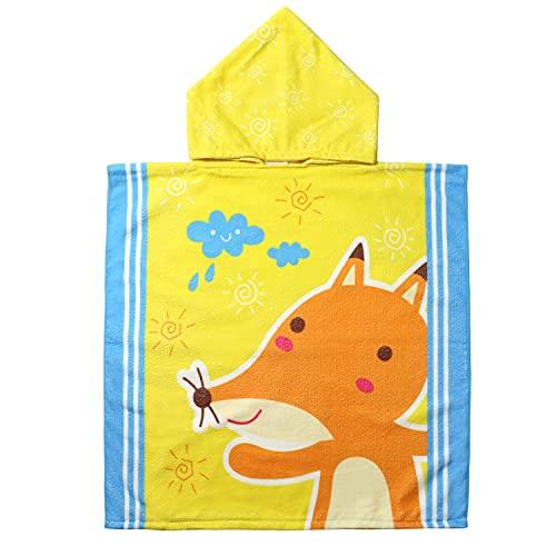 EUFANCE Asciugamano poncho cartone animato per bambini per spiaggia, bagno, asciugamano con cappuccio, accappatoio cartone animato, asciugamano ad asciugatura rapida (modello volpe)