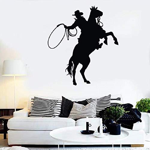 JXMN Wandaufkleber Vinyl Applikation Texas Cowboy Zaun Ritter Silhouette, Denim Home Wohnzimmer Dekoration Wandaufkleber 57x63cm
