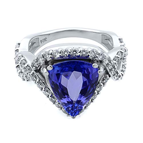 Rachel Koen 14k White Gold Pear Cut Tanzanite and Diamond Crossover Ring Size 7