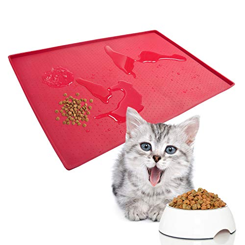 """Cat Food Mat, Pet Feeding Mat – 24"""" x 16"""" Large – 0.5"""" inch Raised Edge Waterproof Red Dog Eating Placemats, No Mess Cat Food Bowl Tray for Floor by Mofason"""