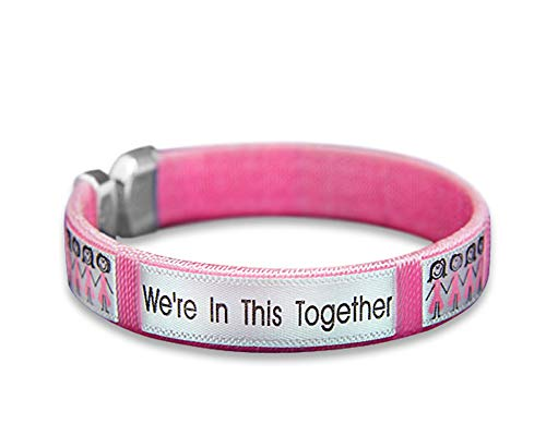 Fundraising For A Cause | Breast Cancer Pink Ribbon Bangle Bracelets - Wholesale Breast Cancer Awareness Bracelets for Fundraisers (5 Bracelets)