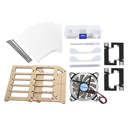 Qiancent Chassis Shell Kit, 4-lagiges Acryl-Chassis Shell Kit mit Großem Lüfter für Raspberry Pi 4B / 3B, Breites Anwendungsspektrum/Einfach zu Bedienen/Stark und Robust / 4-lagig Super Large