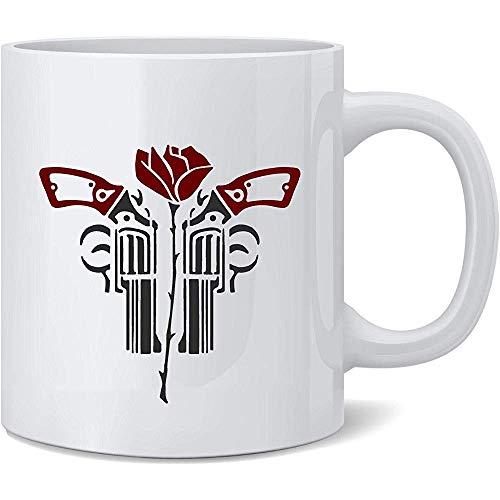 Revolverheld Rose und Revolver-Keramik-Kaffeetasse Kaffeetassen Tee-Schalen-Spaß-Neuheits-Geschenk