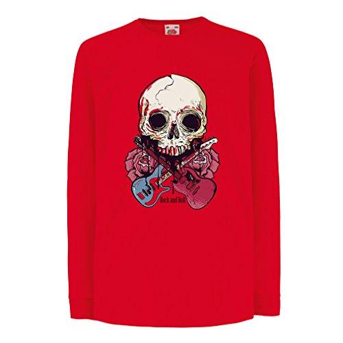 lepni.me Kids T-Shirt Gitaren Schedel Rozen Rock & Roll Concert Liefhebbers