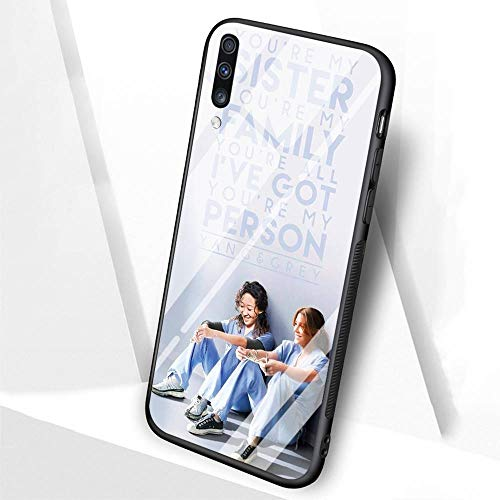 DTLI Designed for Samsung Galaxy A20 Case,Tempered Glass Back Cover and Soft Silicone Rubber Frame Provide 360°Full Edge Protection for Mobile Phones TT-48 Grey Anatomy