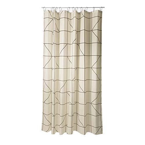 DUSCHVORHANG 180cm breit x 200cm lang AUS TEXTIL IN SAND ohne Ringe shower courtain