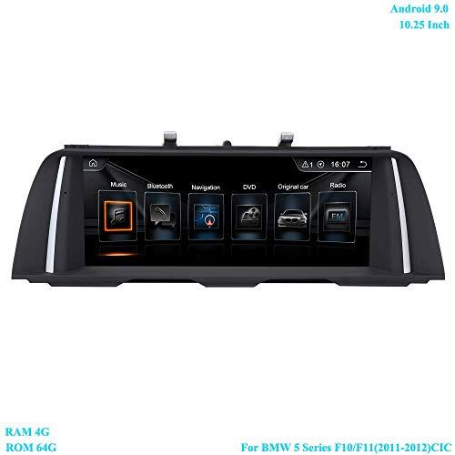 10.25 Zoll Bildschirm Android 9.0 RAM 4G ROM 64G Moniceiver mit GPS Navi Android Radio für BMW 5 Series F10/ F11(2011-2012) Ursprüngliches CIC System
