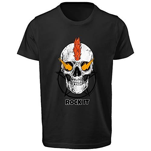 Orilion Camiseta impresa Rock It para hombre, cuello redondo, ajuste regular, manga corta, impresión DTG (directo a la prenda)