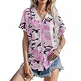 ZFQQ Camiseta de Manga Corta con Cuello en V y Botones a la Moda de Verano para Mujer