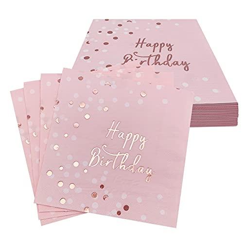 Audamp Servietten Geburtstag Mädchen Tischdeko Geburtstag Happy Birthday Servietten für Mädchen Geburtstag Party Deko 32 Stück