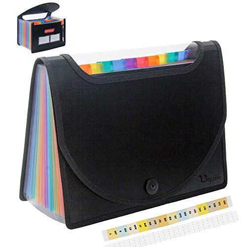 Uquelic 12 Pocket Expanding File Folder with Cover - Visible Rainbow Expandable File Organizer/Large Plastic Accordion A4 Letter Size File Wallet/Portable Document Business Filing Bag