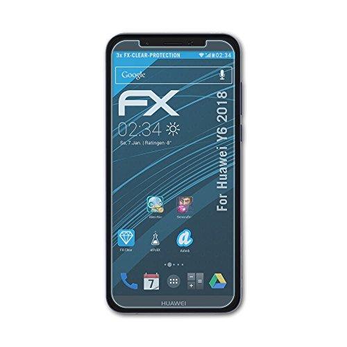 atFolix Schutzfolie kompatibel mit Huawei Y6 2018 Folie, ultraklare FX Displayschutzfolie (3X)