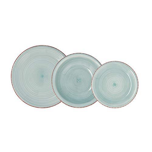 Quid Vita Aqua Vajilla Completa Moderna de Porcelana para 6 Personas (18 Piezas) Llanos, hondos, Platos Postre, Loza