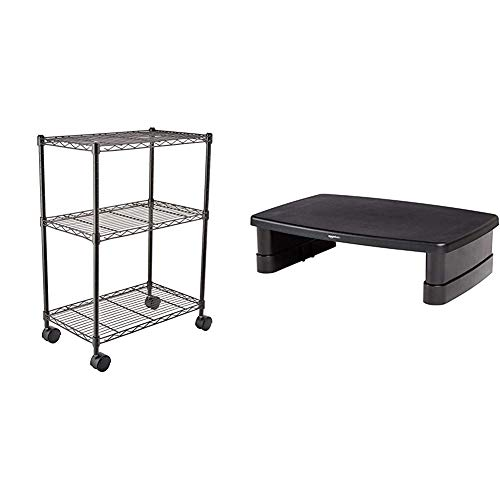 Amazon Basics 3-Shelf Shelving Unit on Wheels – Black & Height-Adjustable Display stand for Laptop and Monitors with non-skid feet