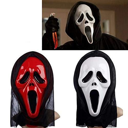 RCFRGV Halloween masker Wit & Rood Geest Masker Met Hoofd Cover Scream Praktische grap Enge Cosplay Gadgets Halloween Kostuum Party