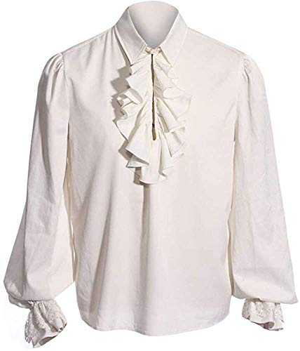 Ericcay Camisa Del Traje Camisa De Los Hombre Camisa Gótica Medieval Hombre Schnürhemd Fisher Ideal Cosplay Con Ropa De Textura Para Juego De Tronos (Color : G-White, One Size : L)