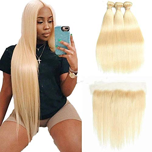 HCDIVA 613 Blonde Human Hair Bundles with Frontal Brazilian Straight with Frontal 100% Virgin Human Hair Weave with 13x4 Lace Frontal (12 14 16+10inch, 613)