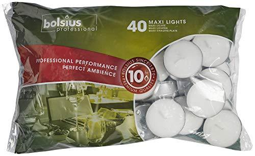 Bolsius 10 uur Maxi theelichten - 40 Pack (wit) 1 x zak van 40