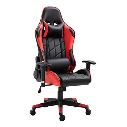 Gaming Stuhl, Bürostuhl, Schreibtischstuhl, Ergonomischer Bürostuhl,PU-Leder,Einstellbare Sitzhöhe und Rückenlehnenneigung (Rot)