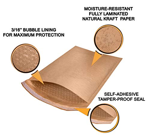 10 Pack Kraft padded envelopes 4x7. Bubble Mailers 4 x 7 Natural Kraft bubble envelopes. Peel and Seal. Brown cushion envelopes for mailing, packing and packaging. Shipping mailers in bulk, wholesale. Photo #3