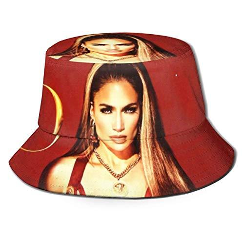 LianLiYa Jennifer López Unisex al aire libre Impreso Sombrero de pescador Sombrero de viaje Sombrero de playa Negro