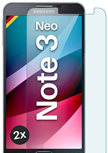 moex Panzerglas kompatibel mit Samsung Galaxy Note 3 Neo - Schutzfolie aus Glas, bruchsichere Bildschirmschutz Folie, Crystal Clear Panzerglasfolie, 2X Stück
