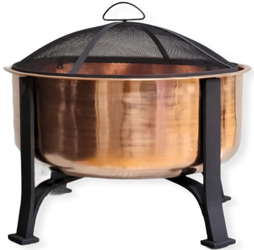 Global Outdoors 26-in Genuine Copper Deep Bowl Fire Pit with...