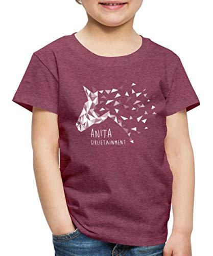 Anita Girlietainment Low Poly White Design Kinder Premium T-Shirt, 134-140, Bordeauxrot meliert