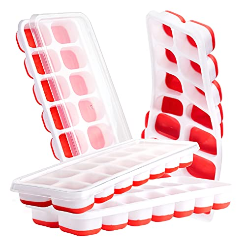 Ice Cube Trays - Silicone Ice Cube Tray with Lid Super Easy Release Ice Cube Molds - Stackable Silicone Ice Tray Durable and Dishwasher Safe - for Food, Cocktail, Whiskey, Chocolate (Crimson-4 Pack)