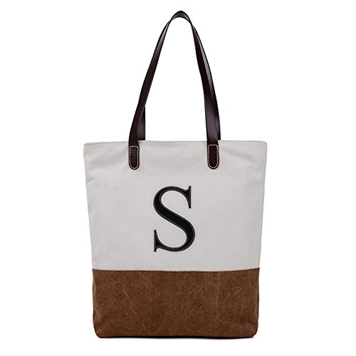INITIAL A to Z Embroidered Monogram Name Duotone BROWN Women Casual Canvas Shoulder Bag Messenger Zipper Tote Bags Size L