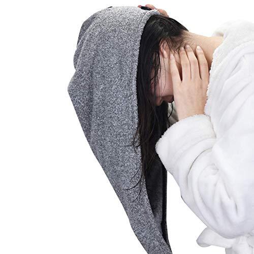 Gorro de Pelo Seco para Mujer Hat Cap Bamboo Charcoal Fibra de cabello Wrap Wrap Turban, Toallas de secado para el cabello con botón, Turbans de pelo de secado rápido Turbans Toallas de pelo suave par