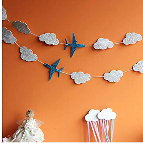 Oulensy Clouds And Airplanes Garland Party Decoration Blue Baby Showers Kids Birthday Event Supplies Happy Hanging Background Banners