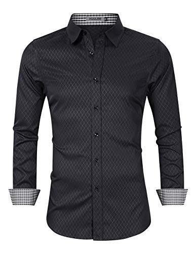 KUULEE KUULEE Herren Hemd Regular Fit/Slim Fit Business Hemd Kontrastfarbe Langarmhemd für Männer (Verpackung MEHRWEG), Schwarz, 36 EU (M)