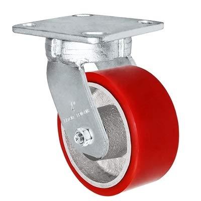 "CasterHQ - 4"" x 2"" Kingpinless Swivel Plate Caster - Polyurethane on Steel Wheel - 700 lbs Capacity Per Caster - 4"" x 4-1/2"" Top Plate"