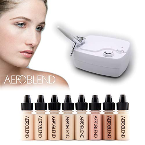 Aeroblend Airbrush Makeup Personal Starter Kit - Light Foundation - With 8 Color Set