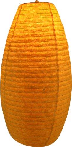 Guru-Shop Ovaler Lokta Papierlampenschirm, Hängelampe Coronn Blümchen, Gelb, 52x29x29 cm, Papierlampenschirme Oval