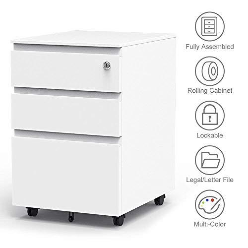 Dripex Metall Rollcontainer 40x50x62cm 3 Schubladen Rontainer mit Schlüssel Aktenschränke Vollständig Zusammengebauter Bürocontainer 5 Räder Aktenschrank (Weiß)