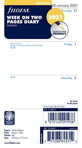 settimana su 2 pagine a righe per agenda 2017 Filofax 17-68418 Agenda personale