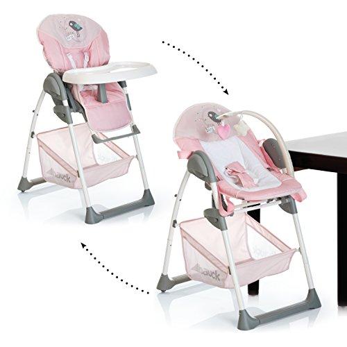 Hauck Sit N Relax 3en1- Hamaquita Balancin y trona para recién nacidos, respaldo reclinable, chasis ligero, con arco móvile, mesa, ruedas, regulable en altura, plegable/Birdie (rosa)