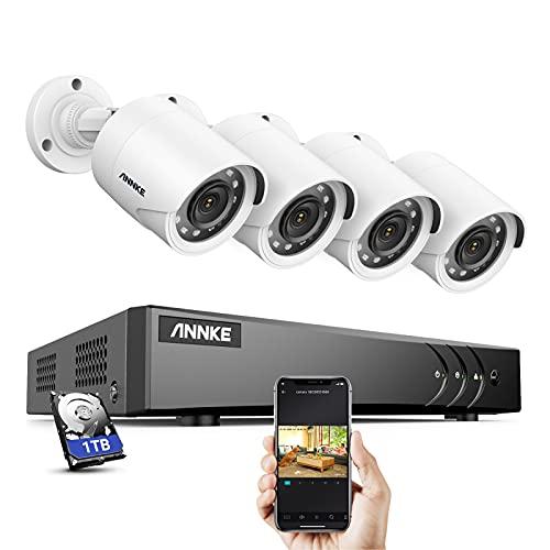 ANNKE Kit de de Vigilancia CCTV DVR 8CH 5MP Lite H.265+ con 1TB Disco duro de Vigilancia(Instalado) y 4 Cámaras 1080P IP66 IR-Cut Visión Nocturna Exterior y Interior- 1TB HDD
